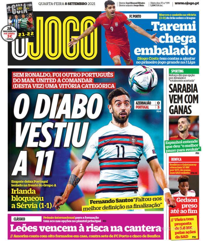 Capas Jornais desportivos 08-09-2021