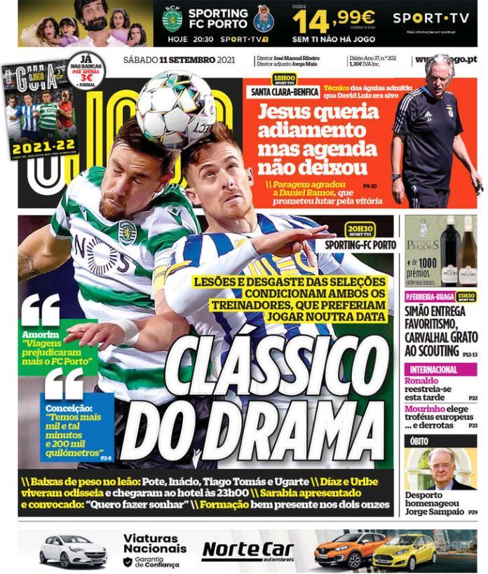 Capas Jornais desportivos 11-09-2021