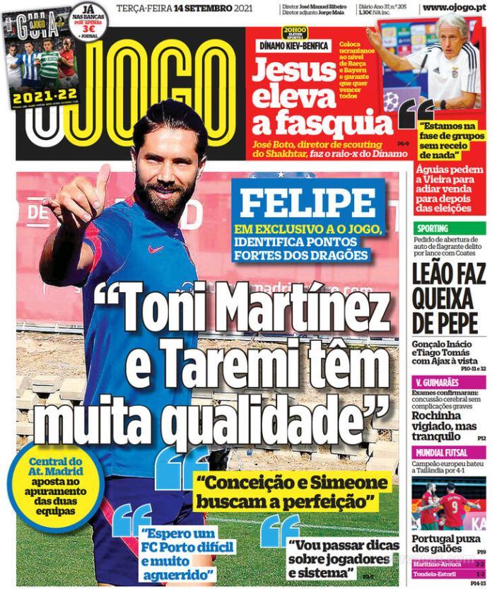 Capas Jornais desportivos 14-09-2021