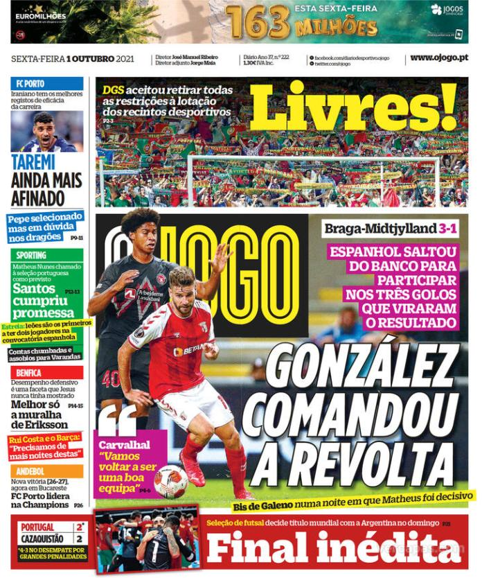Capas Jornais desportivos 01-10-2021