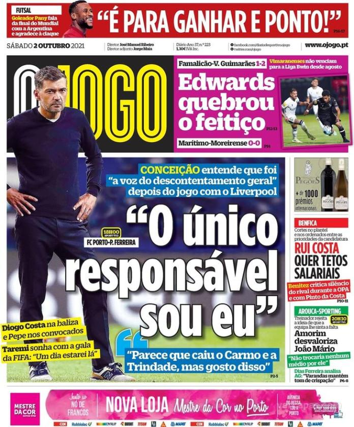 Capas Jornais desportivos 02-10-2021