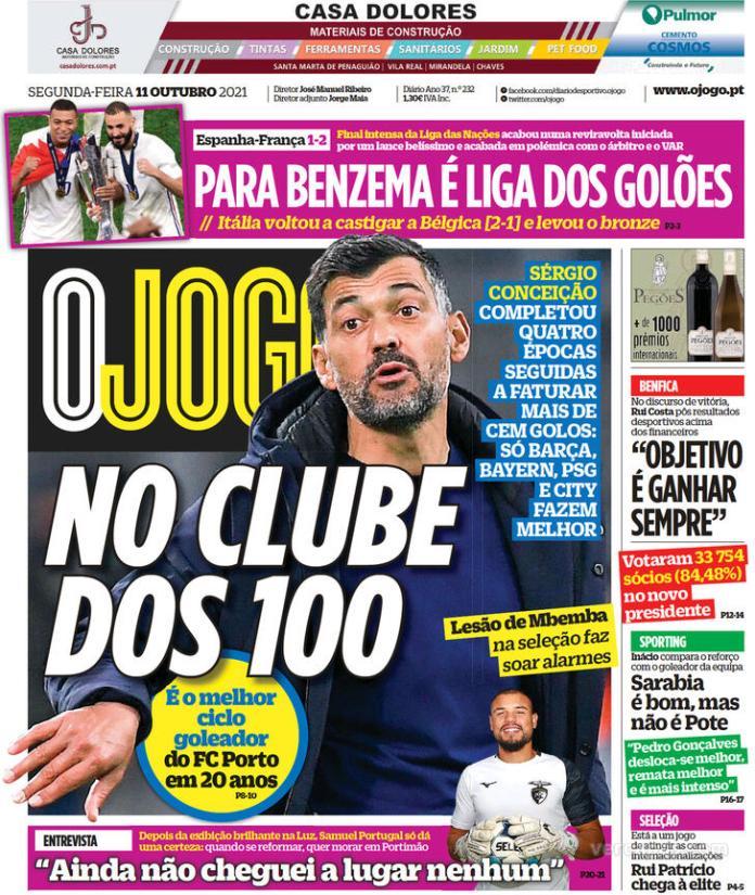 Capas Jornais desportivos 11-10-2021