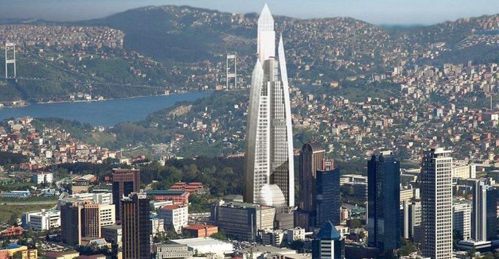 مجسم ثلاثي الأبعاد يوضح شكل لناطحة السحاب دايموند اوف اسطنبول Diamond of Istanbul في المستقبل القريب