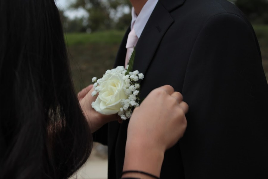 +Freshman+Kaylee+Seo+pins+a+boutonniere+on+her+formal+date%2C+Bryan+Choi.++