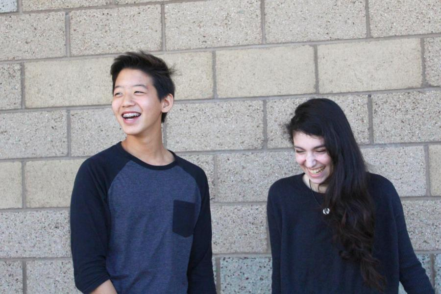Freshman Jun Kim and sophomore Liz Moerman laugh as they relax during break; working together in both ASB and as co-anchors has strengthened their bond and friendship.