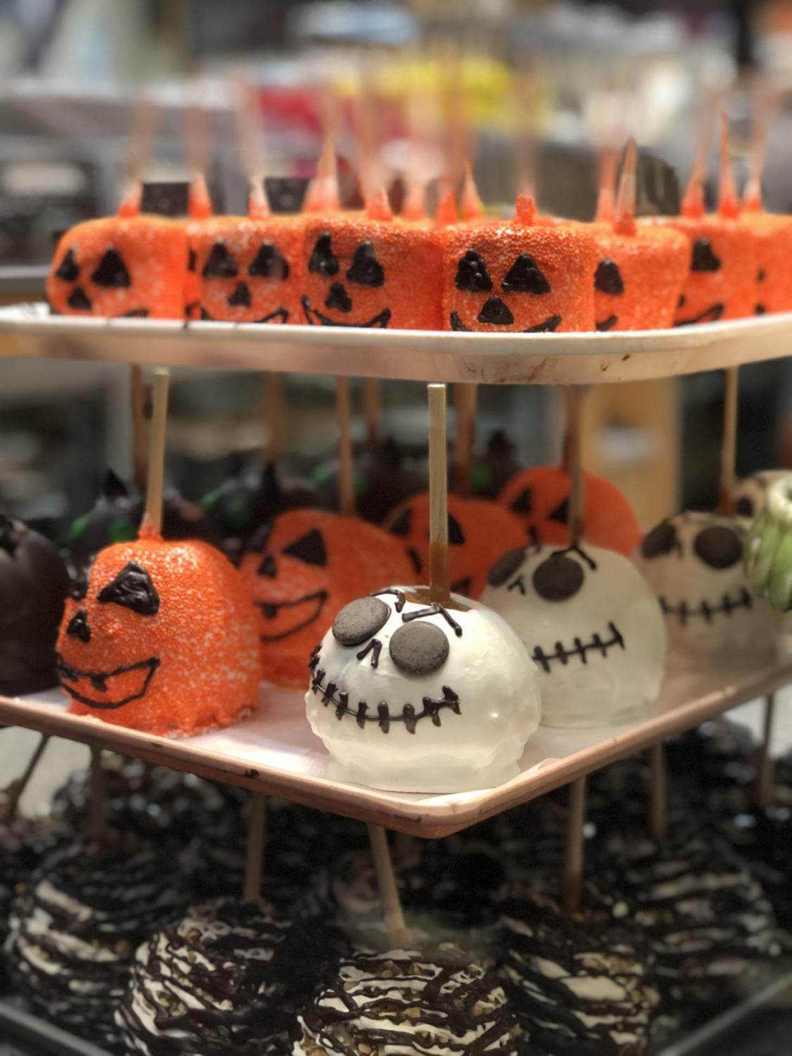 The Rocky Mountain Chocolate Factory at Irvine Spectrum boasts Halloween-themed candy apples and marshmallows dipped in chocolate.