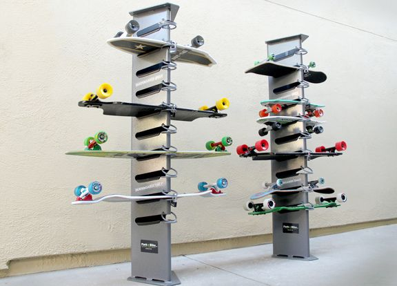 Junior Anthony Lu used this skateboard rack as a model for his project and anticipates his creation will look fairly similar.