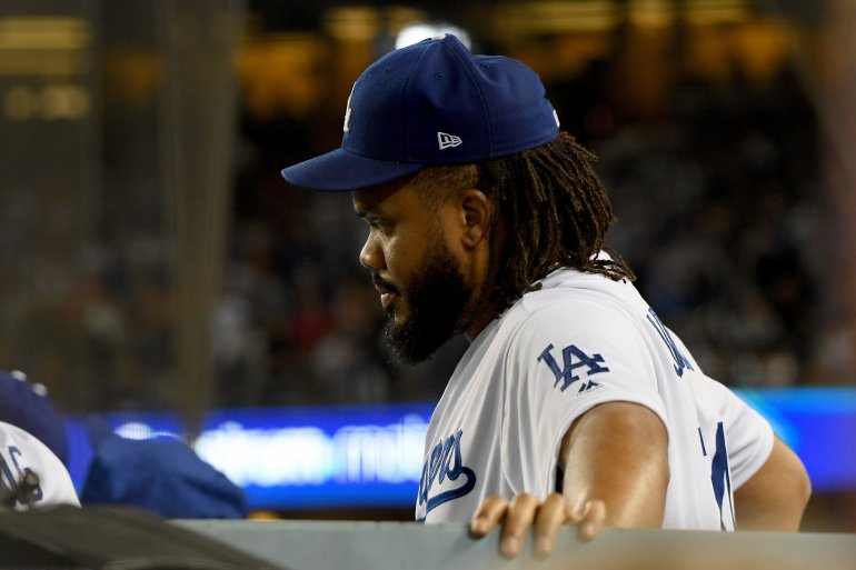 Dodgers+closer+Kenley+Jansen+%28a+strong+pitcher+who+closes+off+the+game+to+shut+down+the+opposing+team%E2%80%99s+batting%29+watches+the+ninth+inning+of+game+five+from+the+dugout%2C+knowing+that+the+team+had+lost.+Jansen%2C+along+with+the+team%2C+had+not+performed+his+best+and+was+pulled+out+of+many+games+early+due+to+errors+made.