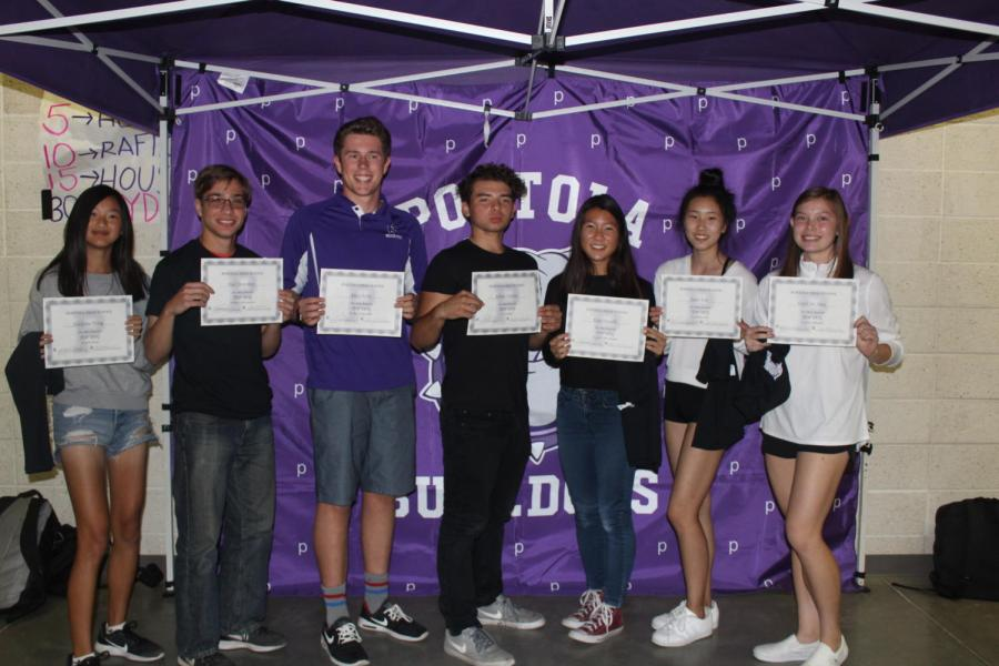 Fall+Top+Dog+award+recipients+included%3A+Adelynne+Wong%2C+Paul+Morenkov%2C+Alex+Cherry%2C+Adrian+Valerin%2C+Kate+Hayashi%2C+Jaein+Kim+and+Faith+DeNeve.+Although+she+won+an+award%2C+sophomore+Kenzie+Edson+is+not+pictured.