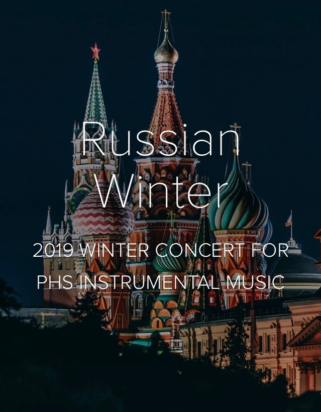"""The digital program features a gorgeous, full-colored image of Saint Basil's Cathedral located in Moscow, a popular symbol of Russia, corresponding to the """"Russian Winter"""" theme. Multiple images pertaining to the program's content were placed throughout, such as photos of sponsors of the Portola High Music Boosters and the many instruments played at the concert."""