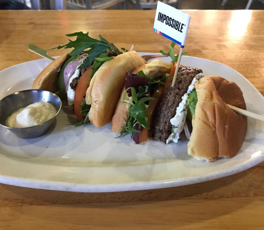 Aside from the actual patty, the Impossible Burger 2.0 was served with herbed goat cheese, organic mixed greens, grilled red onions, avocados, tomatoes and garlic aioli, all served on a brioche bun.