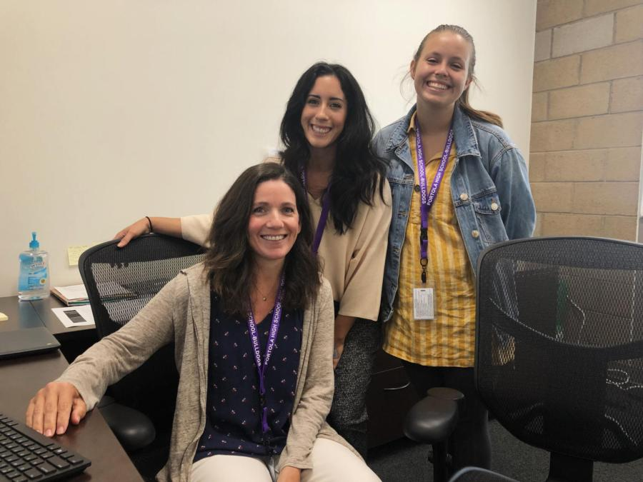 From left to right, counseling interns Jamie Murphy, Diana Gutierezz, and Chloe Pines help orient and support students throughout the tumultuous times of high school.