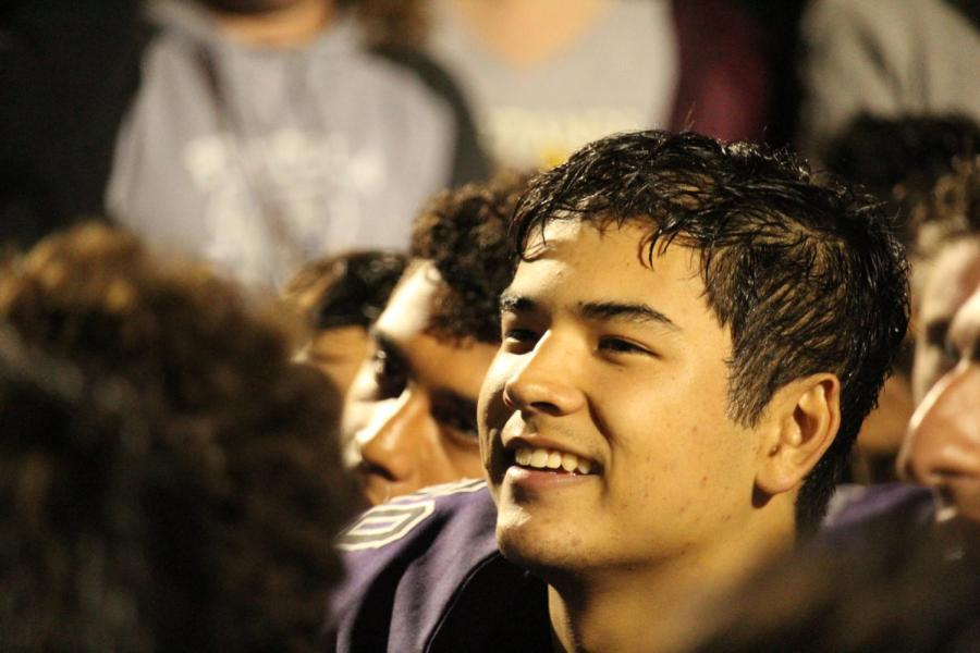 Junior Kyle De Oliveira smiles after the Bulldogs took a hard-fought victory against the strong Timberwolves. The two teams have created a strong budding rivalry throughout the last few years with the Bulldogs pulling on top to become first within the league.