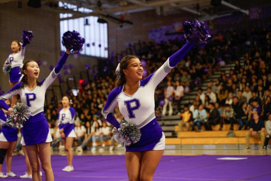 """""""Purple and Gray!"""" scream junior Jaein Kim and senior Alexandra Beltran."""