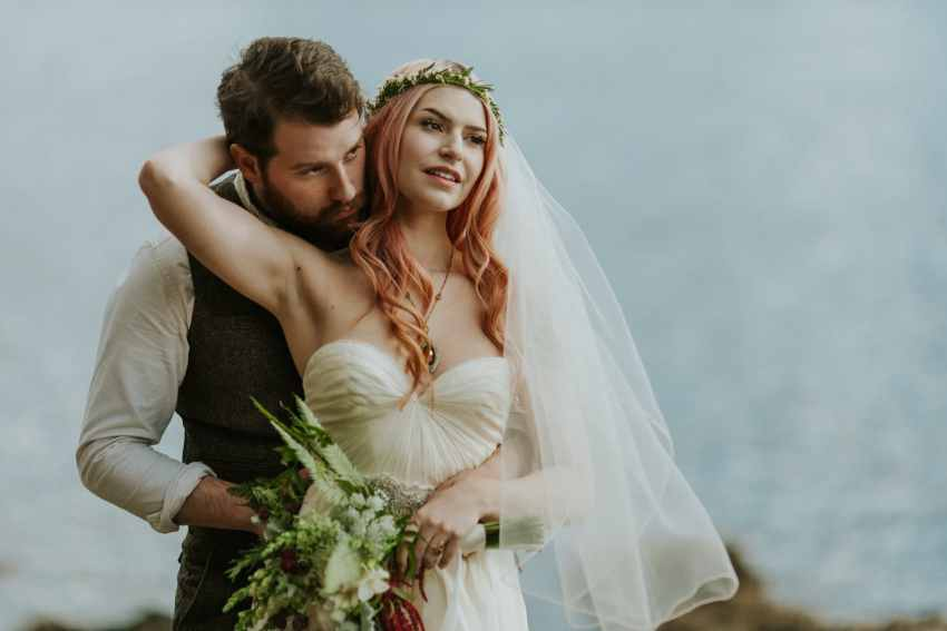 pink hair bride ocean orcas island wedding