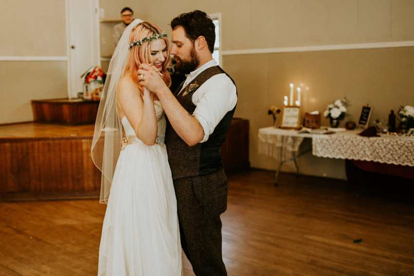 pink hair bohemian bride first dance