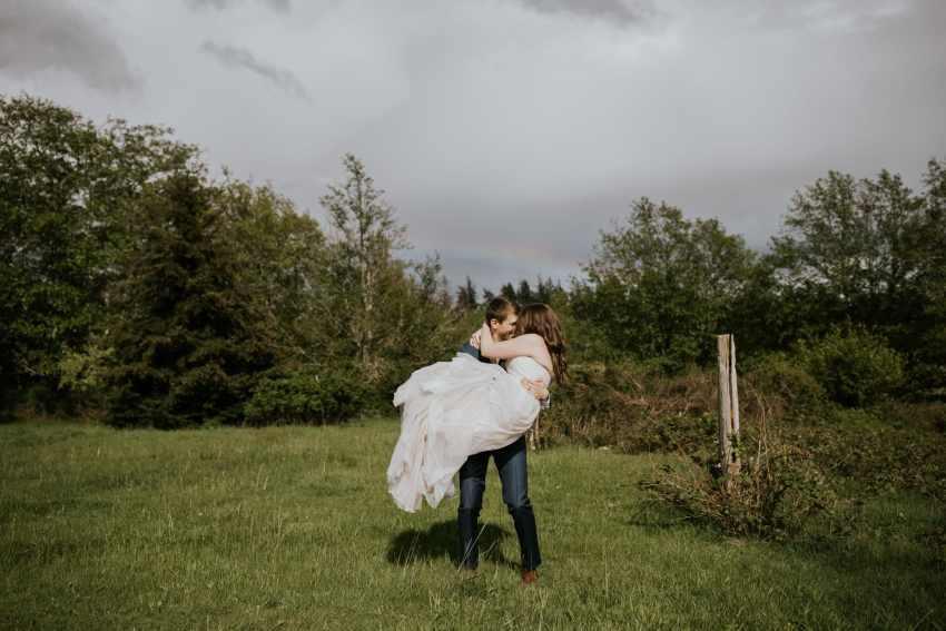 lummi island wedding rainbow