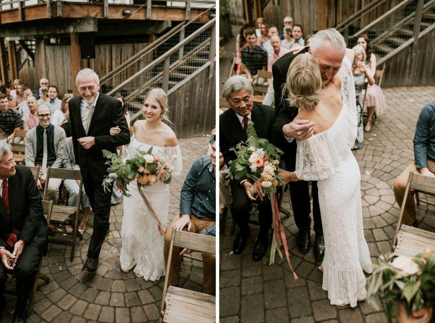 orcas island wedding bride walking down aisle