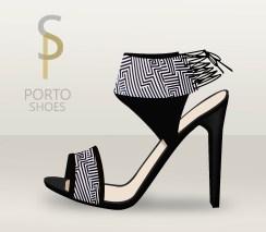 sandalia tira ancha black&white estampado geométrico