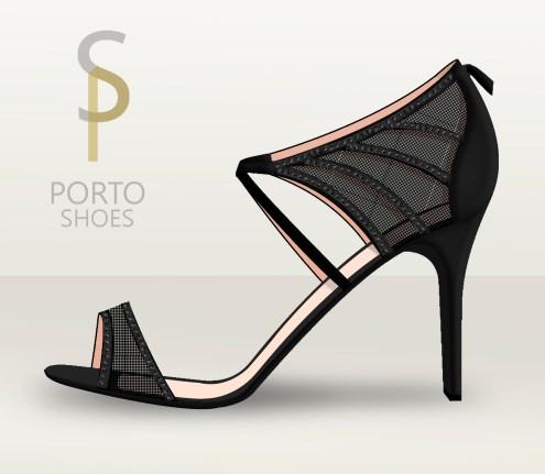 Sandalias negras con brillantes