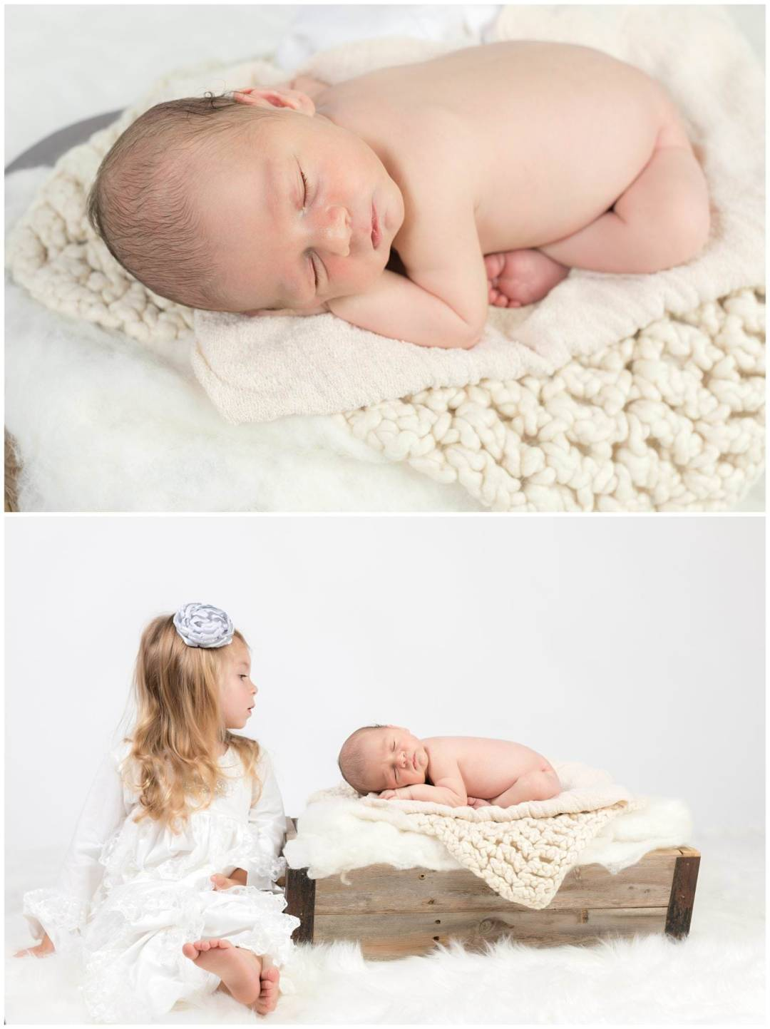 Newborn on white blankets with big sister