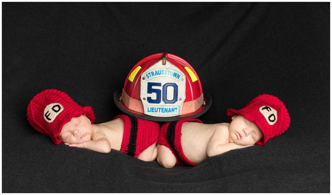 firefighter themed newborn twin photo in studio
