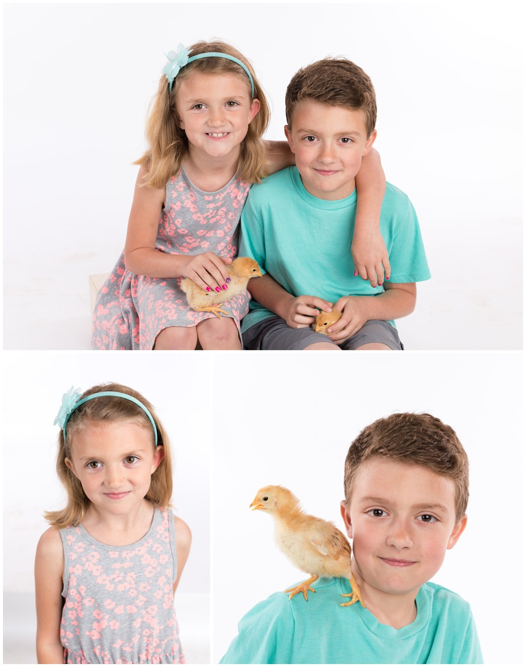 Brother and sister portraits with baby chicks