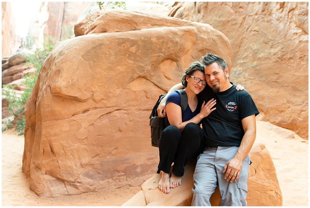 adventurous couple at arches national park