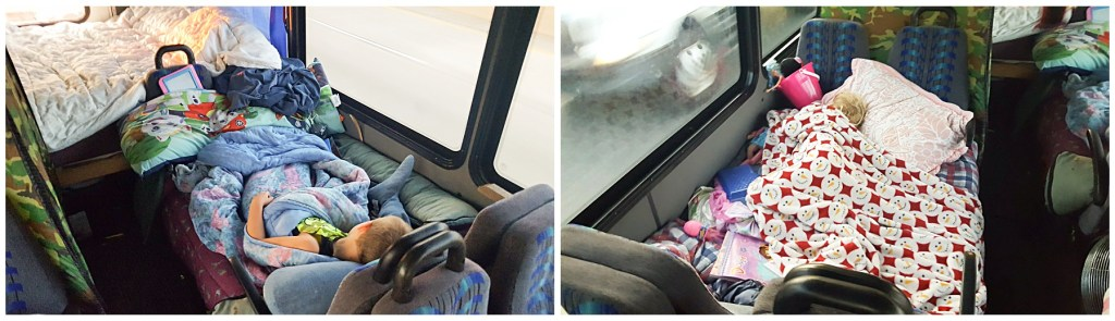 kids beds in modified bus for road trip
