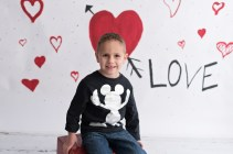 valentines day mini boy in mickey shirt