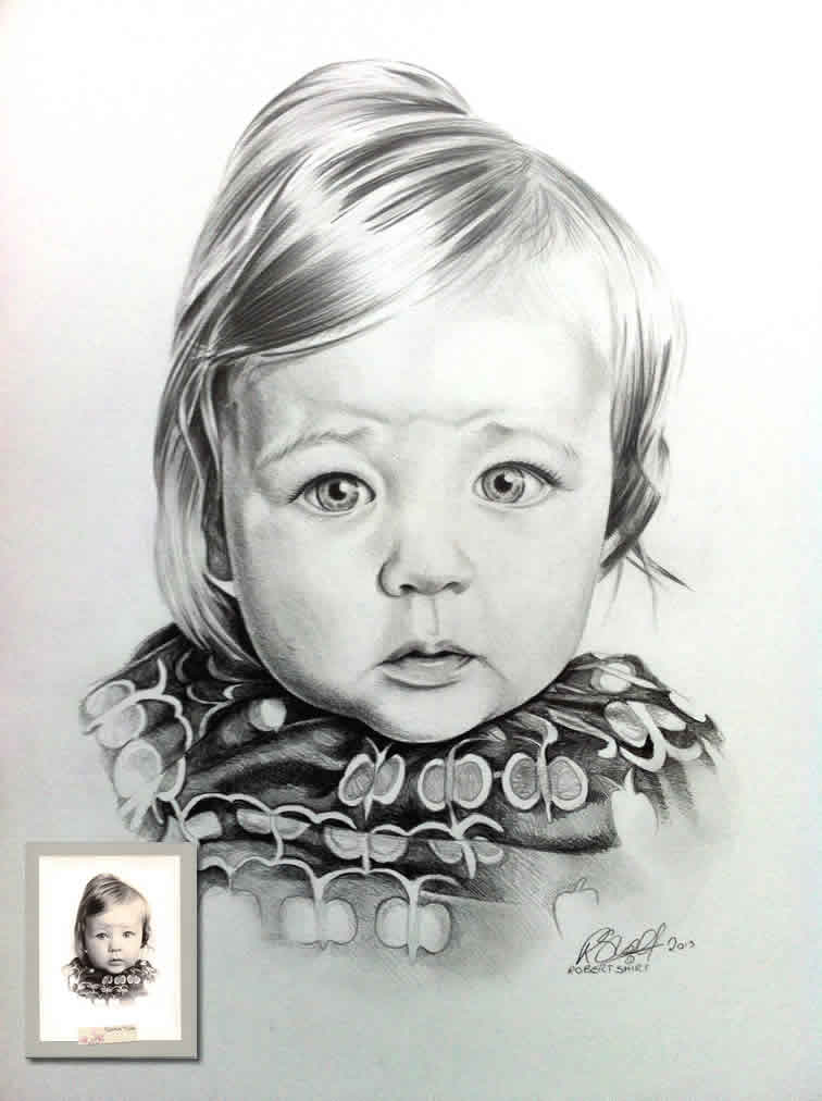 Graphite portrait of child