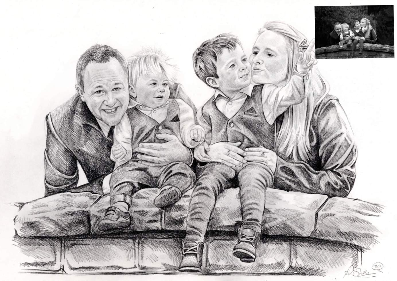 Family drawing | Commission hand drawn portraits
