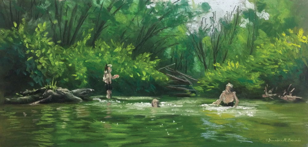 """The Swimming Hole"", pastel, 11"" X 15"", 2014"