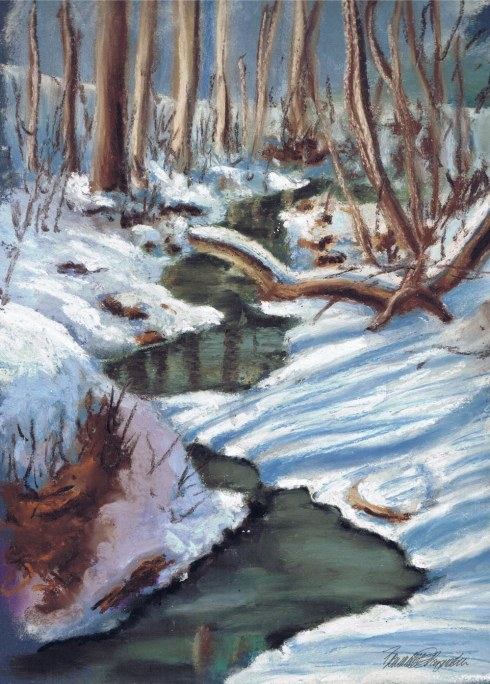 pastel drawing of stream in woods