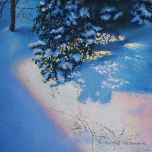painting of snow under trees