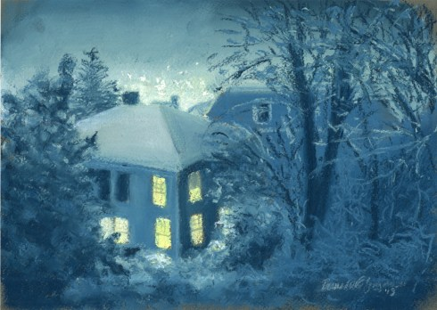 pastel painting of snowy night