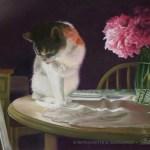 """Peaches and Peonies"", pastel, 23"" x 17"", 2008 © Bernadette E. Kazmarski"