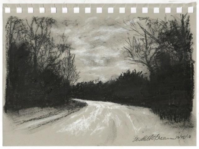"""Charcoal Dusk"", black and white charcoal on gray toned paper, 5"" x 8"" © Bernadette E. Kazmarski"