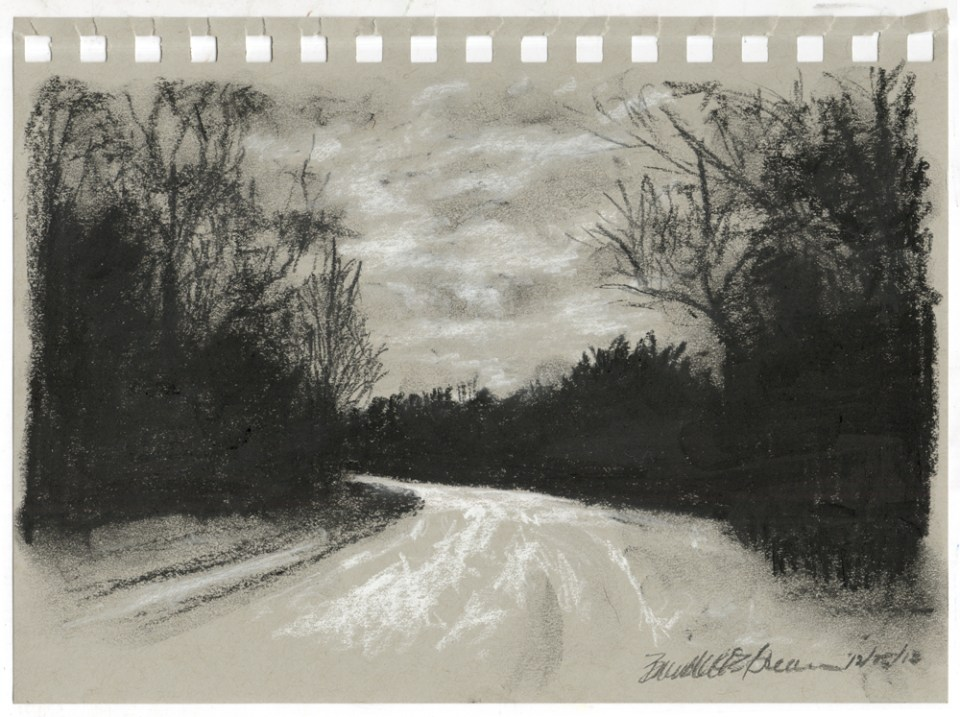 """Charcoal Dusk"", black and white charcoal on gray toned paper, 5"" x 8"" © Bernadette E. Kazmarski"
