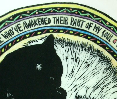Detail of text in C. Awakening with cool and pastel hand coloring.