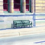 Waiting Bench, watercolor, 8 x 10, 2006 © Bernadette E. Kazmarski
