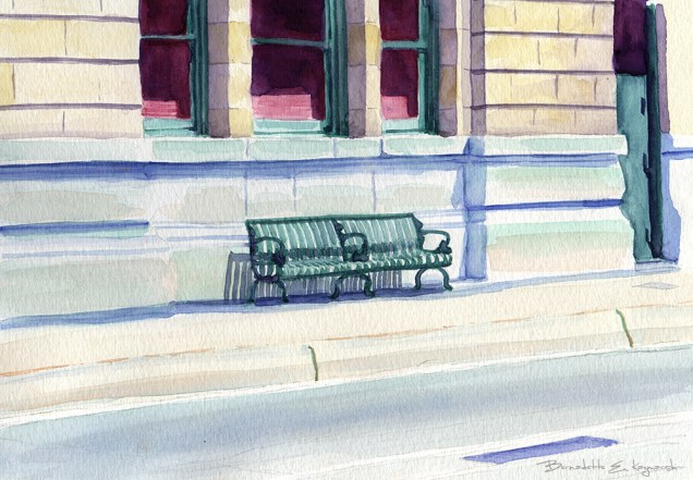 Waiting Bench, watercolor, 8 x 10, 2006 © Bernadette E. Kazmarski