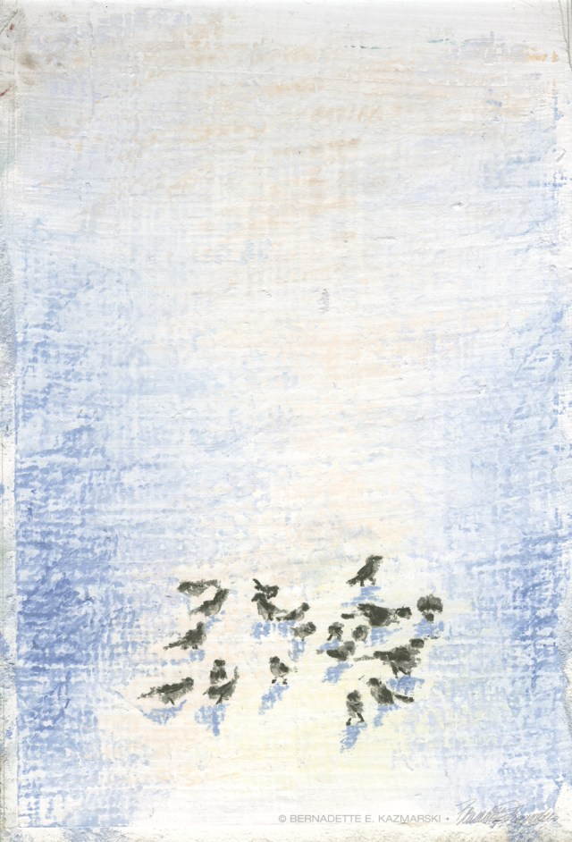 """Birds in Snow, pastel, 7"""" x 10"""" © Bernadette E. Kazmarski"""