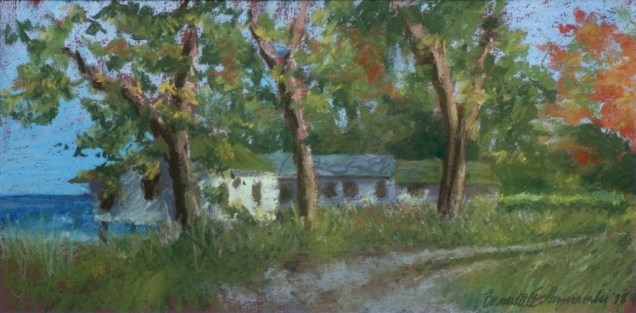 """Deserted Cottages"", 17"" x 8.5"", Rembrandt pastels on Hahnemuhle sanded watercolor paper, 1998 © Bernadette E. Kazmarski"