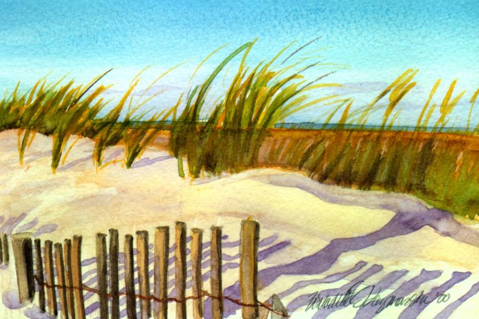 Sunset Beach, watercolor, 8 x 10, 2000 © Bernadette E. Kazmarski