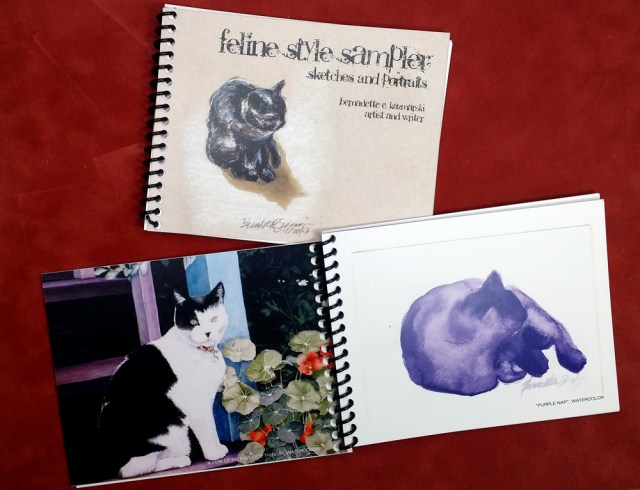 """Feline Style Sampler"" cover and inside spread."