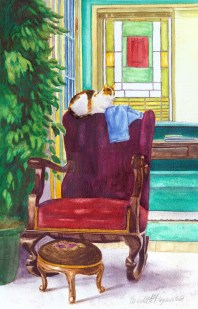 "Holly on the Rocker, watercolor, 8"" x 12"", 2008 © Bernadette E. Kazmarski"