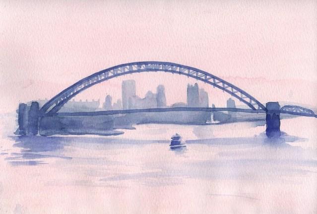 Misty River Morning, watercolor, 8 x 11, 2006 © Bernadette E. Kazmarski