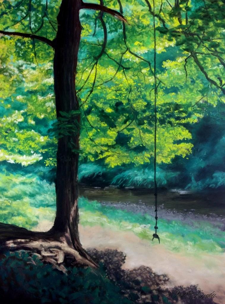 """The Rope Swing, pastel, 14"""" x 20"""", 2014 © Bernadette E. Kazmarski"""