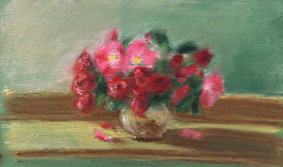 "Small Roses, pastel, 10"" x 6"", 2001 © Bernadette E. Kazmarski"